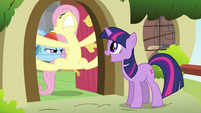 Twilight trying to convince Fluttershy S2E21