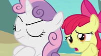 Apple Bloom giving Scootaloo's message to Sweetie S8E6