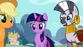 Applejack, Twilight and Zecora look at Apple Bloom S2E06.png
