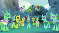 Changelings staring back at Thorax S7E17.png