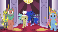 Delegate ponies burst out of the dining hall S7E10