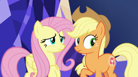 Fluttershy and AJ start to look nervous S8E23