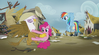 Gilda prying Pinkie Pie off of her S5E8