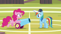 Pinkie lending Rainbow her party cannon S9E15