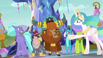 Princess Celestia holding back the race leaders S8E2