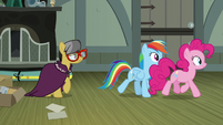 Rainbow and Pinkie walk away from A. K. Yearling S7E18