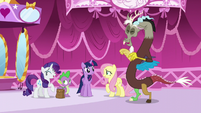 Rarity, Fluttershy, and Discord laughing S5E22