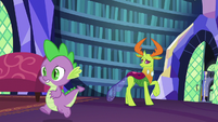 Spike runs past Thorax toward Twilight Sparkle S7E15
