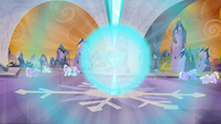 The Crystal Heart bursting from the collected power of the Crystal Ponies S3E02