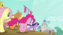 The Mane 6 heading for Rarity's boutique S6E9