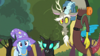 Trixie, Thorax and Discord look at Starlight S6E26