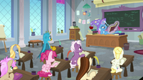 Trixie teaching a history class S9E20