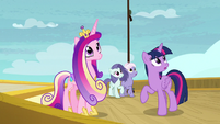 Twilight and Cadance hear another announcement S7E22