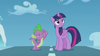 Twilight and Spike looking at filly Rainbow S5E25