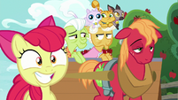 Apple Bloom grins; Big Mac sleepy; grannies sly S9E10