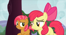 Babs and Apple Bloom running around a tree S3E8