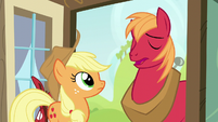 "Big Mac responds ""Eeyup"" to Applejack S5E17"