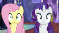 Fluttershy and Rarity blinking S6E21.png