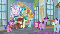 Headmare Twilight handing out flyers for the dance S9E7