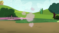 Pinkie Pie speeds off-screen toward Lyra S7E4