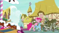 Pinkie Pie tightly hugging Rainbow Dash S7E23