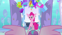 Pinkie tosses presents all over the nursery BFHHS1