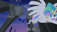 Princess Celestia flying away from Nightmare Moon S4E2