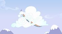 Rainbow Dash flying around cloud S3E7