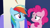 Rainbow and Pinkie look at each other S6E15