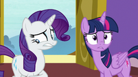 Rarity feeling awkwardly guilty S9E19