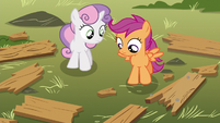 Scootaloo and Sweetie looking at splintered wood S5E4