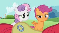 Sweetie Belle asking about Apple Bloom's cutie mark S2E06