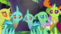 Thorax and changelings listening to Pharynx S7E17