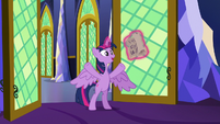 Twilight Sparkle bursting into the library S7E26