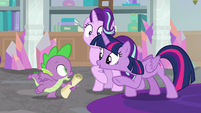 "Twilight and Spike ""race you there!"" S9E4"