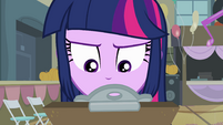 Twilight looking at the clipboard EG