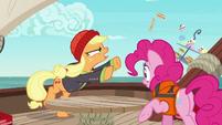 Applejack angrily tosses Rarity's platter overboard S6E22