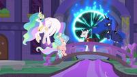 Celestia, Luna, and Neighsay stop Cozy S8E26