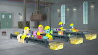 Factory workers on the assembly line S9E14