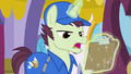 Mailpony levitating clipboard; doesn't have time to redo Rarity's order.png