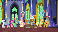Pillars of Equestria uneasily look at each other S7E26