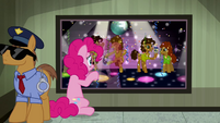 Pinkie Pie looking at Cheese in a police lineup S4E12