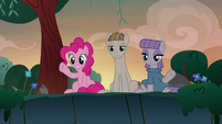 Pinkie and Maud waving to Starlight Glimmer S8E3