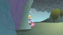 Rainbow Dash, Pinkie Pie, Applejack and Rarity hanging outside of the cave S1E7