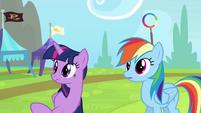 Rainbow and Twilight hears cheerleaders S4E10