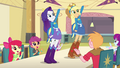 Rarity and Applejack on lunch table EG.png