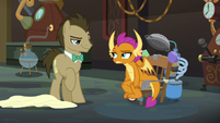 Smolder sits in Dr. Hooves' time machine S9E20