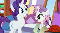Sweetie Belle pops out of Rarity's fabrics S8E12