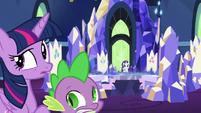 Twilight, Rarity, and Spike hear something S5E16