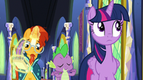 Twilight Sparkle rolling her eyes at Spike S8E8
